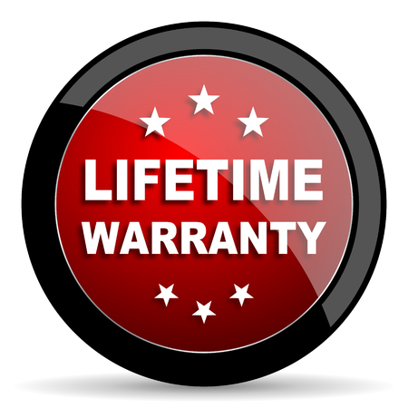 lifetime: lifetime warranty red circle glossy web icon on white background - set440