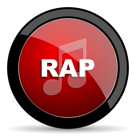 black rapper: rap music red circle glossy web icon on white background - set440