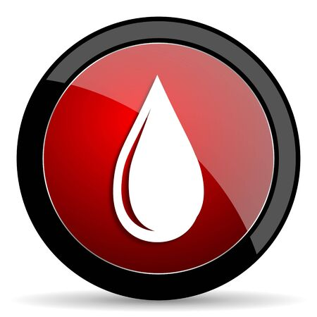 drinkable: water drop red circle glossy web icon on white background - set440