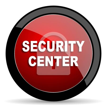 protected database: security center red circle glossy web icon on white background - set440
