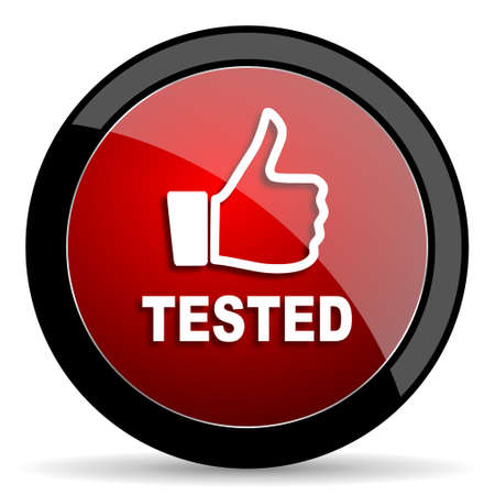 tested: tested red circle glossy web icon on white background - set440