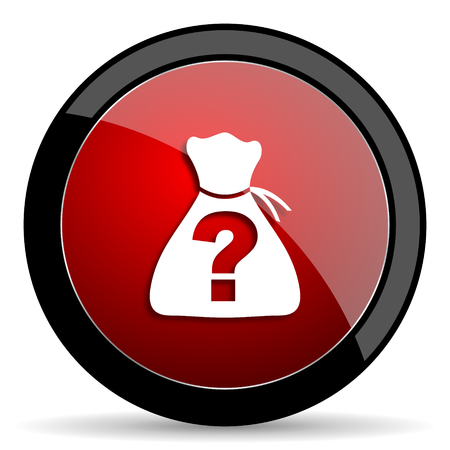 riddle: riddle red circle glossy web icon on white background - set440