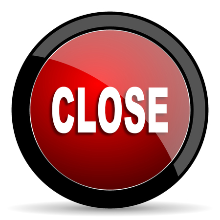 closure: close red circle glossy web icon on white background - set440 Stock Photo
