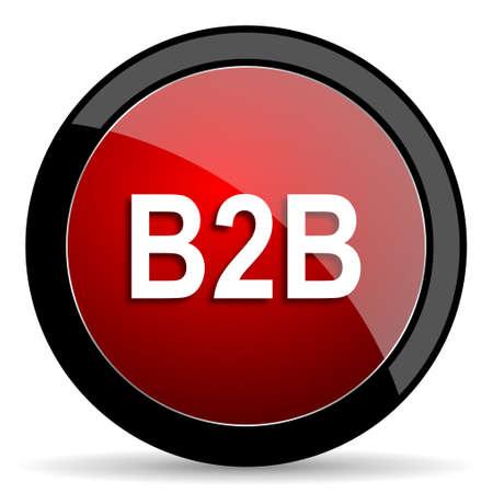 b2b: b2b red circle glossy web icon on white background - set440 Stock Photo