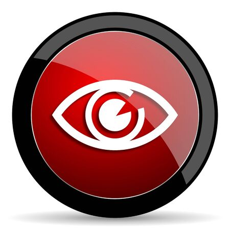 eye red: eye red circle glossy web icon on white background - set440