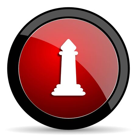 king master: chess red circle glossy web icon on white background - set440