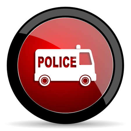 highway patrol: police red circle glossy web icon on white background - set440