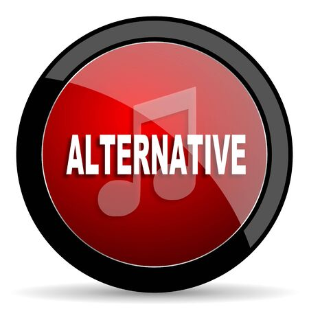 live stream radio: alternative music red circle glossy web icon on white background - set440