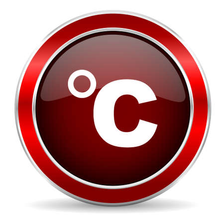 coldness: celsius red circle glossy web icon, round button with metallic border