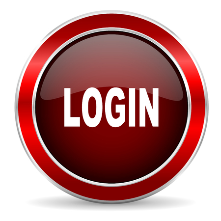 arrow button: login red circle glossy web icon, round button with metallic border