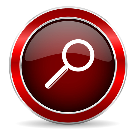 red button: search red circle glossy web icon, round button with metallic border