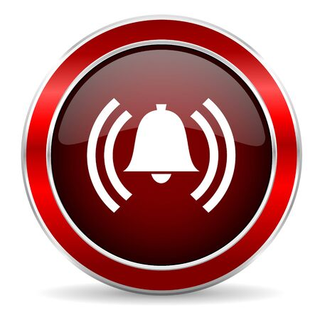 security icon: alarm red circle glossy web icon, round button with metallic border Stock Photo