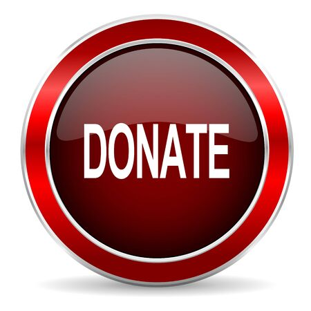 philanthropy: donate red circle glossy web icon, round button with metallic border