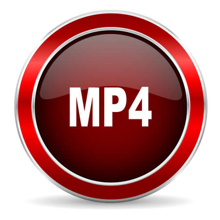 mp4: mp4 red circle glossy web icon, round button with metallic border
