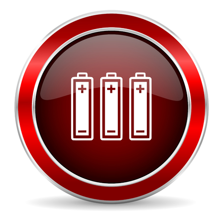 accuse: battery red circle glossy web icon, round button with metallic border Stock Photo
