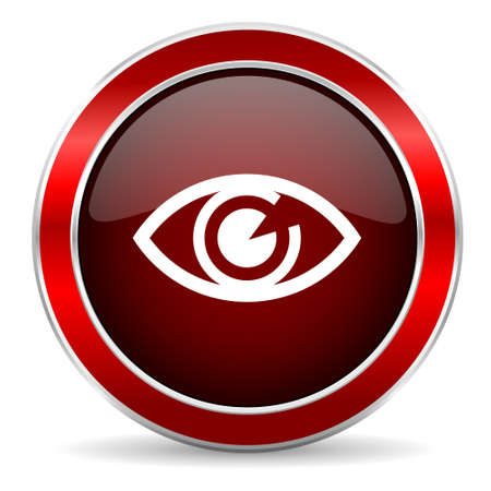 eye red: eye red circle glossy web icon, round button with metallic border