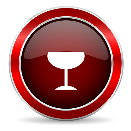champain: alcohol  red circle glossy web icon, round button with metallic border