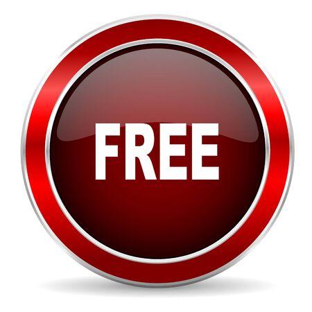 web button: free red circle glossy web icon, round button with metallic border Stock Photo
