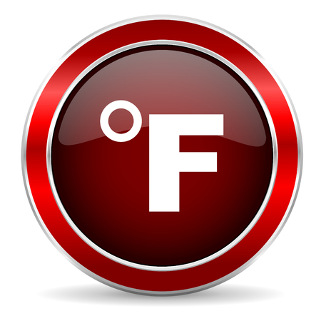 celcius: fahrenheit red circle glossy web icon, round button with metallic border Stock Photo