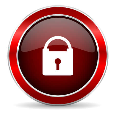 trusty: padlock red circle glossy web icon, round button with metallic border