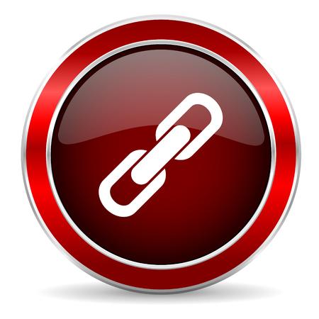 la union hace la fuerza: link red circle glossy web icon, round button with metallic border