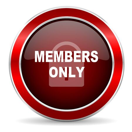 private club: members only red circle glossy web icon, round button with metallic border
