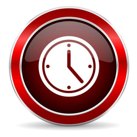 metallic border: time red circle glossy web icon, round button with metallic border