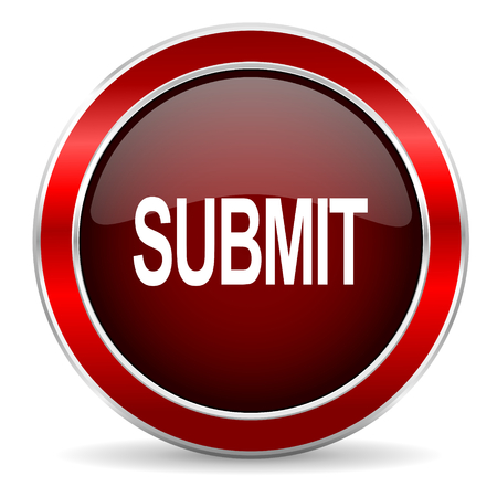 submit button: submit red circle glossy web icon, round button with metallic border Stock Photo