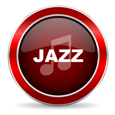 genre: jazz music red circle glossy web icon, round button with metallic border Stock Photo