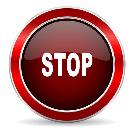 proscribed: stop red circle glossy web icon, round button with metallic border