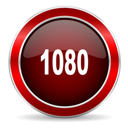 metallic border: 1080 red circle glossy web icon, round button with metallic border