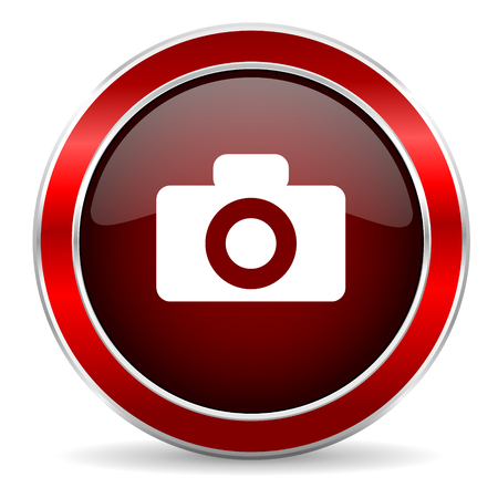 picto: camera red circle glossy web icon, round button with metallic border