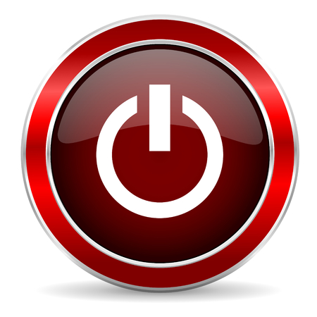 run off: power red circle glossy web icon, round button with metallic border