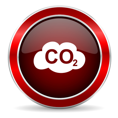 carbonic: carbon dioxide red circle glossy web icon, round button with metallic border