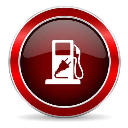 metallic border: fuel red circle glossy web icon, round button with metallic border Stock Photo
