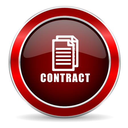 pact: contract red circle glossy web icon, round button with metallic border