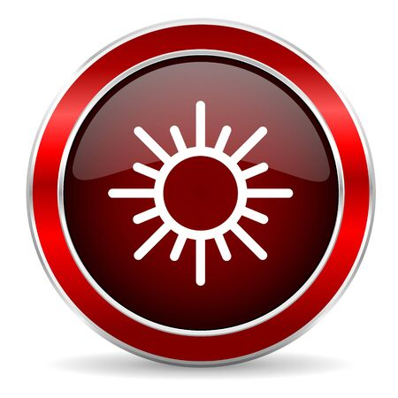 metallic  sun: sun red circle glossy web icon, round button with metallic border