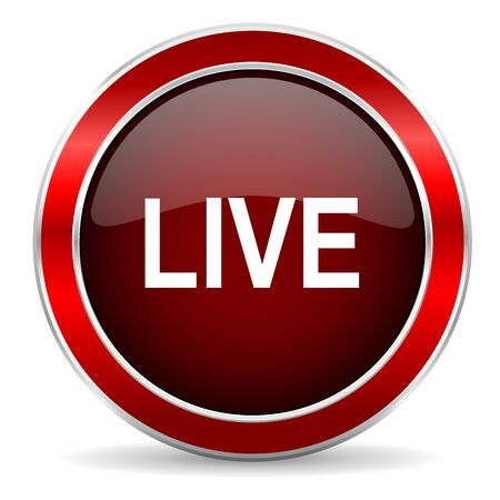 news cast: live red circle glossy web icon, round button with metallic border