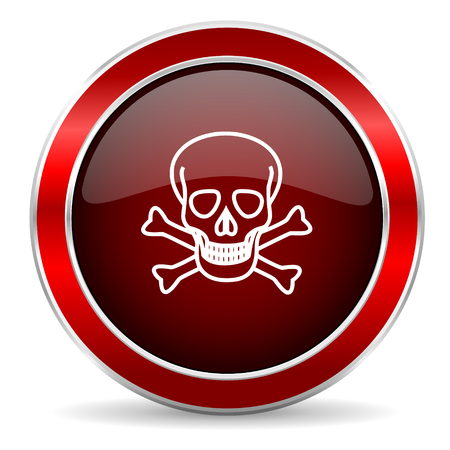 pirating: skull red circle glossy web icon, round button with metallic border