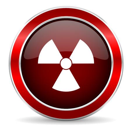 gamma radiation: radiation red circle glossy web icon, round button with metallic border