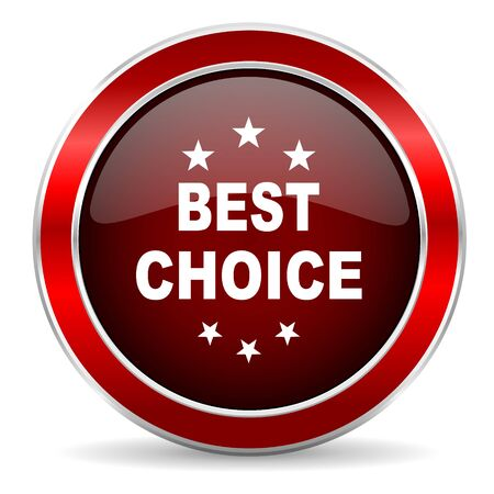best choice red circle glossy web icon, round button with metallic border