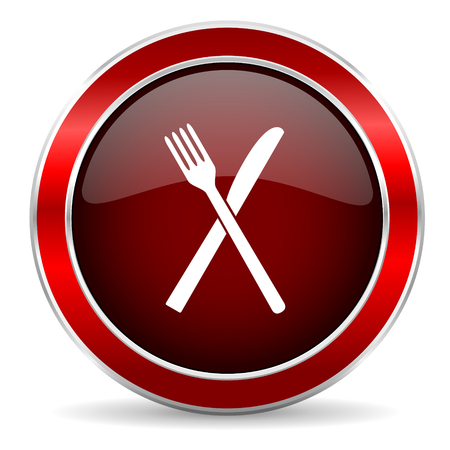 cater: restaurant red circle glossy web icon, round button with metallic border