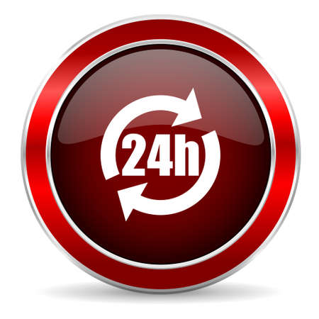 24h: 24h red circle glossy web icon, round button with metallic border