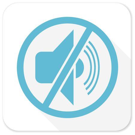 mute: mute blue flat icon Stock Photo