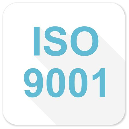 norm: iso 9001 blue flat icon