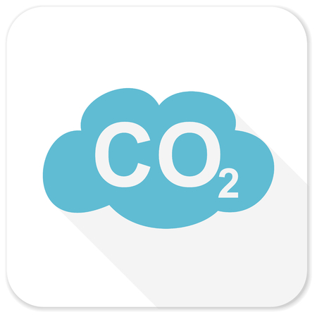 dioxide: carbon dioxide blue flat icon