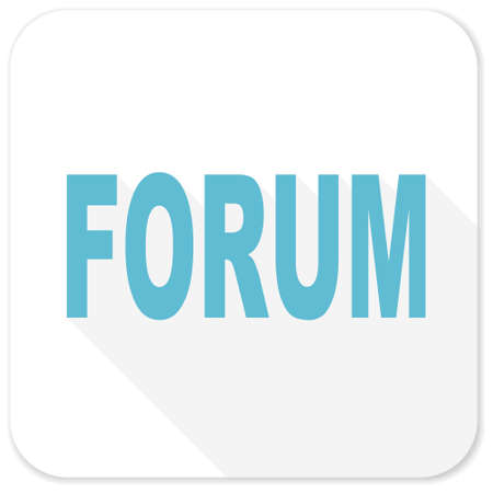 contacting: forum blue flat icon