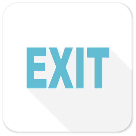 exit: exit blue flat icon Stock Photo