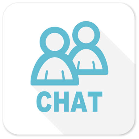 contacting: chat blue flat icon