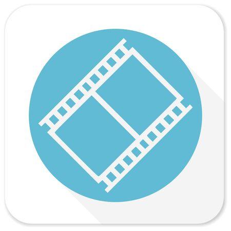 photo slide: film blue flat icon
